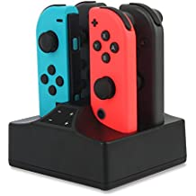 Base de carga compatible con Nintendo Switch Joy-Con 4 en 1 cargador con indicador LED, interruptor de control cargador con cable USB tipo C, color negro