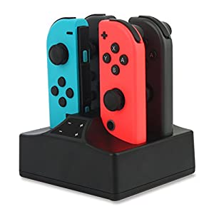 Ladestation Dock kompatibel mit Nintendo Switch Joy-Con 4 in 1 Ladestation mit LED Anzeige, Schalter Controller…