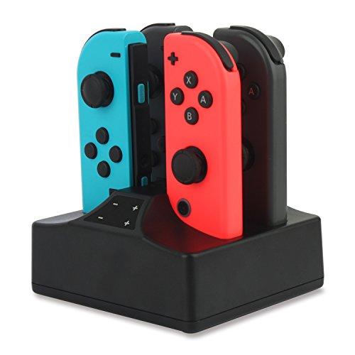 Base de carga compatible con Nintendo Switch Joy-Con 4 en 1 cargador con indicador LED, interruptor de control cargador con cable USB tipo C, color negro