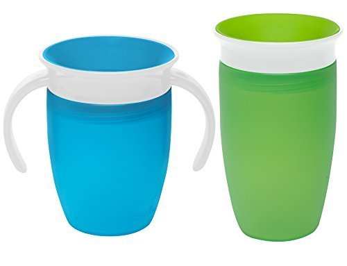 Munchkin Miracle 360 Degree No-Spill Trainer and 10 Ounce Cup, Twin Pack, Blue & Green