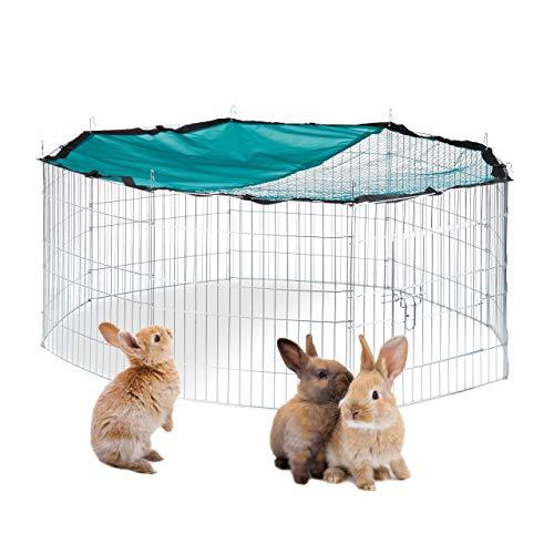 Relaxdays XL Freilaufgehege mit Netz-Abdeckung, für Hasen und Nager, Kleintiergehege mit Sonnenschutz, Ø 145cm, verzinkt