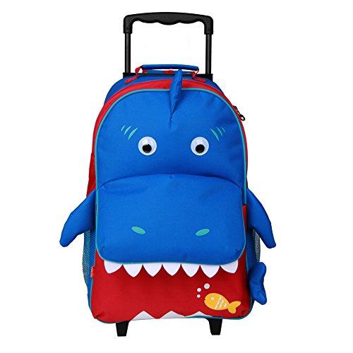 Yodo, simpatico trolley 3 in 1 convertibile per bambini, da usare come zaino, valigia o trolley, con grande tasca frontale ad accesso rapido per riporre snack e giocattoli. per maschi e femmine dai 3 anni in su blu large-shark 4-6 anni