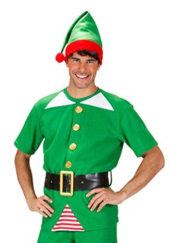 Karneval-Klamotten Weihnachtswichtel Weihnachtself Weihnachtshelfer Kostüm Herren Oberteil, Gürtel -