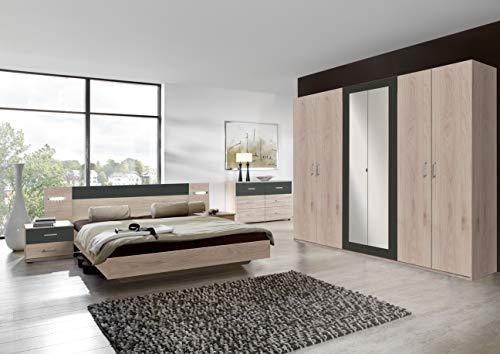 Wimex Angie Drehentürenschrank -2 Spiegel, Hickory Oak/Graphit, 58 x 270 x 208 cm - Hickory-schlafzimmer-möbel