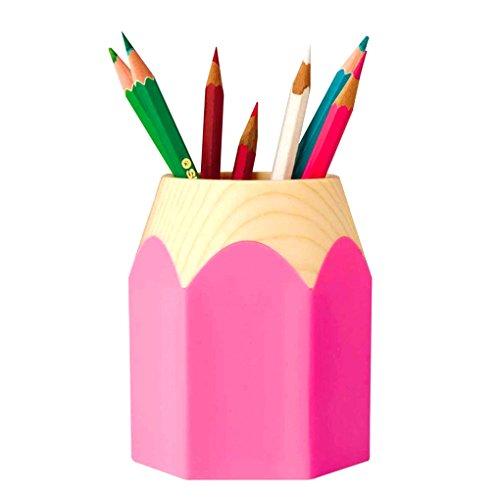 LY® Pot à crayons Pot de Rangement Pour Bureau Maison Couleurs Assorties Style de Bois En plastique - Rose