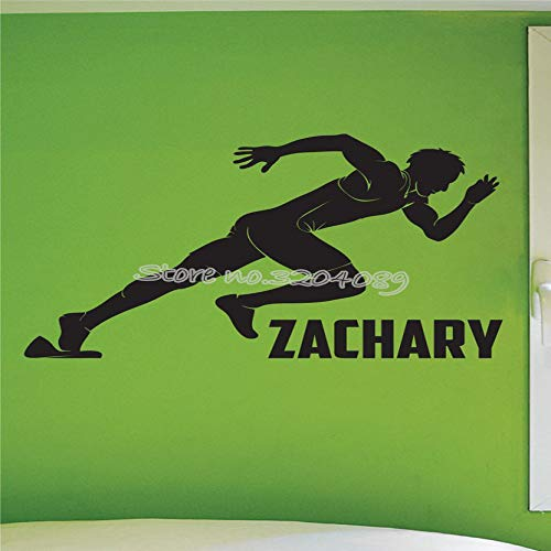zqyjhkou Sprinter Boys Track Grafik Wandaufkleber Läufer Schnell Laufen Motivation Wandtattoo Kunst Teens Room Decor Vinilos Paredes Ea651 58x42cm