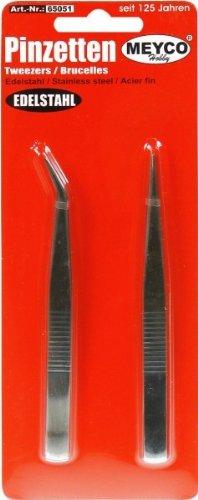 Pincettes - Lot de 2 pincettes en acier inoxydable
