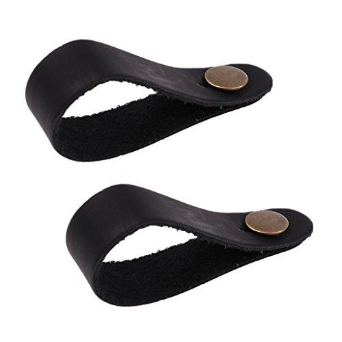 2 Stück Gurtschlaufe/Strap aus Leder für alle Standard Gitarre (mit Knopf) - Schwarz