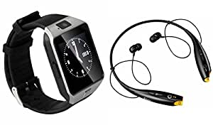 Smart Watch & Bluetooth Headset for SONY xperia c(LG Tone Headset,Bluetooth Headset & Bluetooth DZ09 Smart Watch Wrist Watch Phone with Camera & SIM Card Support Hot Fashion New Arrival Best Selling Premium Quality Lowest Price with Apps like Facebook, Whatsapp, Twitter, Sports, Health, Pedometer, Sedentary Remind & Sleep Monitoring, Better Display, Loud Speaker, Microphone, Touch Screen, Multi-Language, Compatible with Android iOS Mobile Tablet-Silver Color)