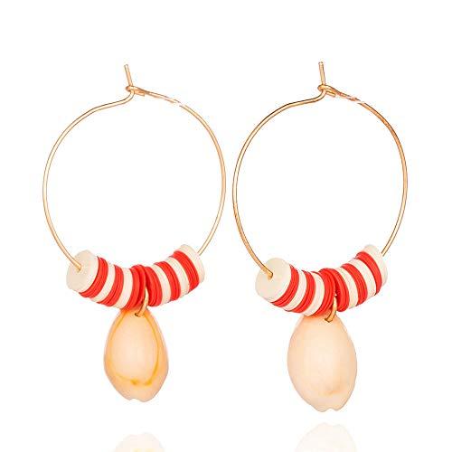 Zuiaidess orecchini a bottone donna,naturali unici big shell orecchini pendenti per le donne di moda colore rosso orecchini a pendente fascino gioielli doni