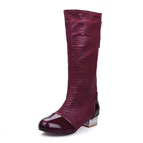 AllhqFashion Damen Niedriger Absatz Schnüren Mitte-Spitze Blend-Materialien Stiefel Rot