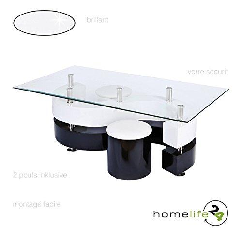 Designer Couchtisch Moderner Wohnzimmertisch Tisch Glastisch mit rechteckige Glasplatte aus Sicherheitsglas mit 2 Hocker schwarz weiß Hochglanz
