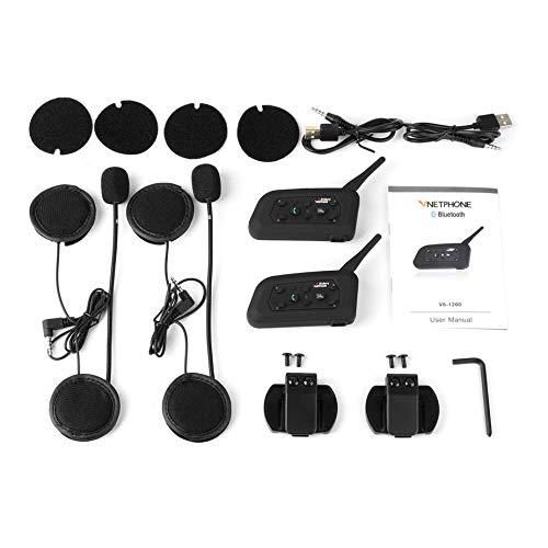VNETPHONE V6-1200 Bluetooth Motorcycle Communicator 2-in-1 Helmet Intercom Headset with Mic Interphone for 6 Riders Intercom Mic
