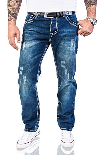 Rock Creek Herren Designer Jeans Hose Dicke Nähte Vintage Herrenjeans Stonewashed Regular Fit Used Look RC-2056 Blau W36 L30 -