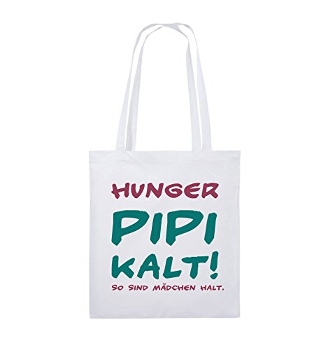 Comedy Bags - Hunger pipi kalt! So sind Mädchen halt! - Jutebeutel - lange Henkel - 38x42cm - Farbe: Schwarz / Weiss-Neongrün Weiss / Fuchsia-Türkis