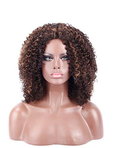 kalyss synthetischen lockiges Afro-Perücke für Damen schwarz Premium natürlich aussehende Kanekalon synthetischen Jerry Gelockt Perücke Tief unsichtbar Mitte, Perücke braun Highlights