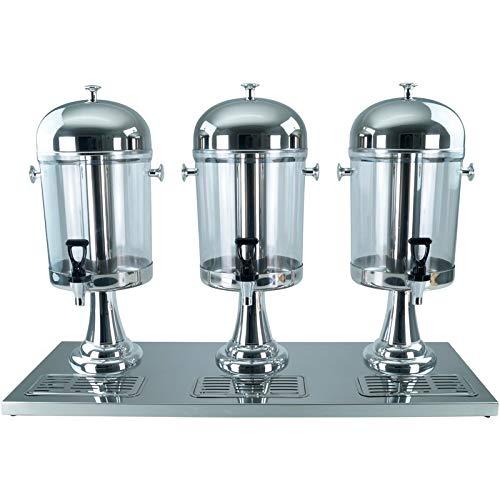 GVK ECO Saft-Dispenser Getränkedispenser Saftspender 3 x 8 Liter mit Kühlelement - Silber