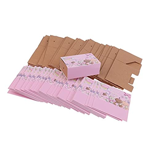 MagiDeal 50 Pieces Cute Paper Bear Baby Boy/Girl Sweet Candy Boxes Baby Shower Favor Pink