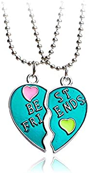 Best Friends Forever Gift Necklace Set of 2 Pcs - Fashion Lovely Oil Painting Heart Pendants - Friendship Ever
