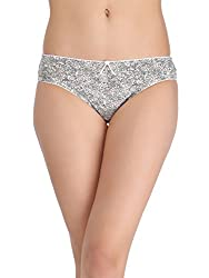 Clovia Womens Printed Low-Waist Bikini with Satin Bow - Beige (PN0905P24_Beige_X-Large)