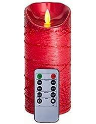 Bords ondulés Rouge Gitter Bougies LED sans flamme avec télécommande et minuteur, 17,8cm