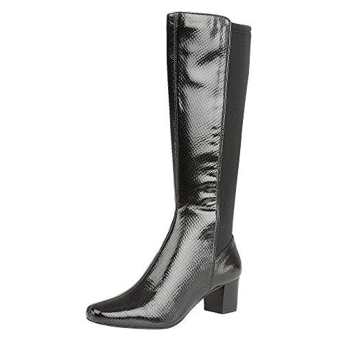 Lotus Dorada Womens Long Boots 6 Black Shiny Snake