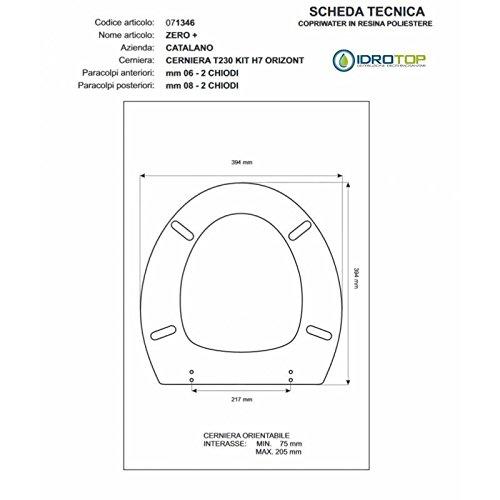 ACB/COLBAM WC-Sitz, aus beschichtetem Holz, Polyester für Catalano Zero+ Schwarz Cromo-Sedile-ASSE Wc mit Lockerem Soft Close