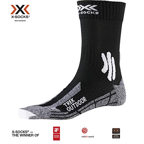 X-Socks Trek Outdoor Socks, Opal Black/Dolomite Grey Melange, 45-47