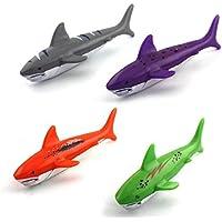 Preisvergleich für 4 Stück Spaß Cartoon Cute Shark Sharp Badewanne Badezimmer Wasser Spielen Spielzeug Schwimmen Spielzeug Strandbad Zeit Spielzeug
