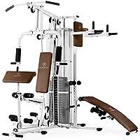 Klarfit Ultimate Gym 5000 White Edition - Máquina de Gimnasio, Estación multifunción, Más de 50 Ejercicios, Musculación con Pushup, SitUp, Ajuste de poleas y Pesos, Acolchada, Blanco