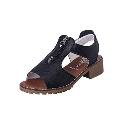 Longra Donne Tacco basso sandali collo del piede della chiusura lampo Nero