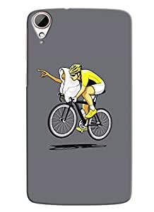Blue Throat Man Doing Cycling Printed Designer Back Cover For HTC Desire 828