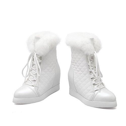 AllhqFashion Damen Hoher Absatz Blend-Materialien Mitte-Spitze Rein Schnüren Stiefel Weiß