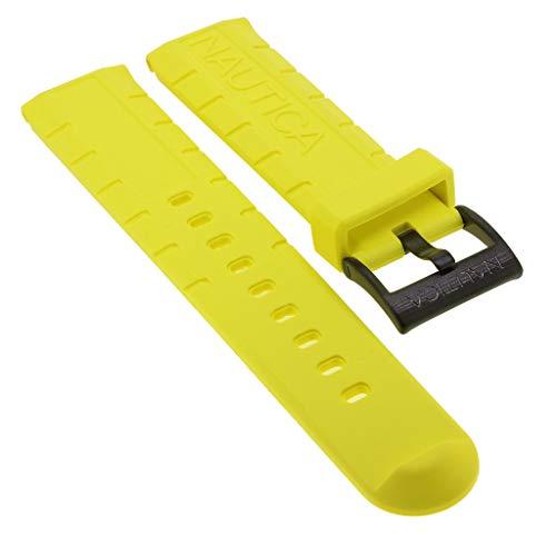 Nautica Ersatzband | Uhrenarmband aus Kunststoff in gelb mit schwarzer Schließe | NAI21000G
