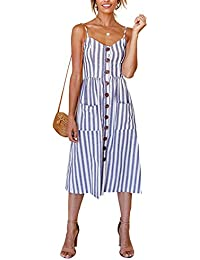 Miss Floral® Women's Bardot Button Through A-Line Midi Strappy Dress 23 Style Size 6-20