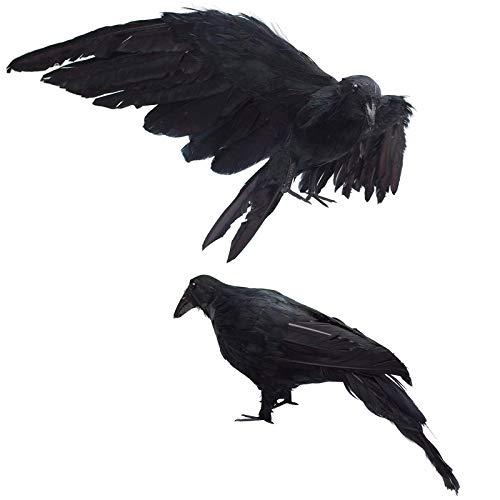 Festar 2er Pack Realistisch Crows in Lebensgröße 33cm Extra Groß Handgefertigt Schwarz gefiederten für Halloween Dekorationen Birds