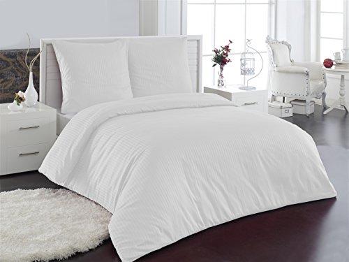 Elit Home Collection Bettwäsche Mako Satin Damast 100% Baumwolle Hotel Bettgarnitur Weiß 200x220cm (Hotel Collection Bettwäsche-sets)