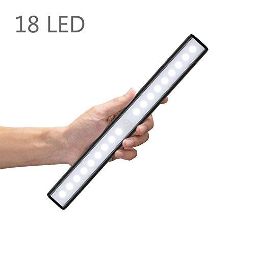Led Unter Schrank Befestigung (Moston 18 LED Schranklicht,Wandlicht,USB,Wiederaufladbar,Bewegungsmelder mit Sensor,mit Schalter,tragbares Licht,Nachtlicht,ohne Kabel,magnetisch,Lichtleiste(Schwarz))