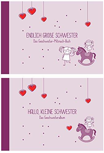 """Geschenk zur Geburt für Geschwister:""""Endlich große Schwester"""" +""""Hallo, kleine Schwester"""" (Erinnerungs-/Foto-Album,Öko, Recycling-Papier)"""