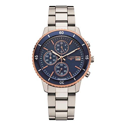ELYSEE Women's Sina 40mm Steel Bracelet & Case Sapphire Crystal Quartz Blue Dial Analog Watch 83801S