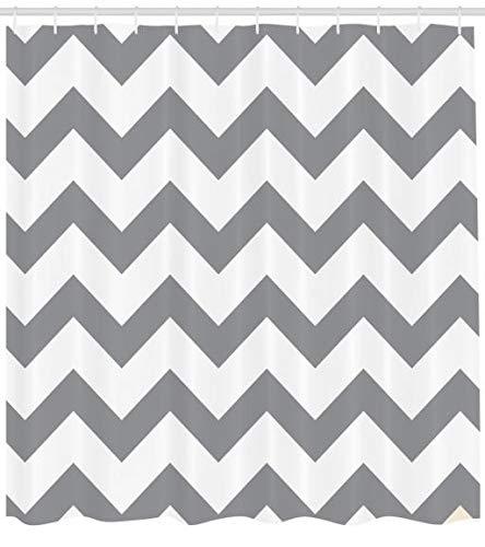 ABAKUHAUS Grau Duschvorhang, Geometrische Zickzack-Streifen, mit 12 Ringe Set Wasserdicht Stielvoll Modern Farbfest und Schimmel Resistent, 175 x 220 cm, Grau Weiß (Duschvorhang Streifen Grau)