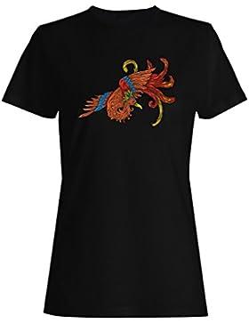Arte Hermoso Floral Del Pájaro camiseta de las mujeres o145f