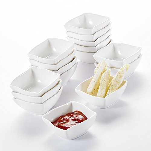 MALACASA, Serie Ramekin.Dish, Juego de Cuencos Mini 16 Unidades, Cuencos de Postre, Snack, Aperitivo 2,5/6,5 * 6,5 * 3cm - Vajilla Porcelana