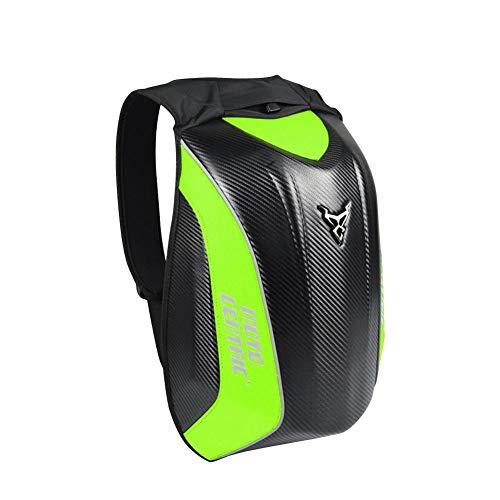 Lembeauty, zaino impermeabile da moto in fibra di carbonio, grande capacità, custodia rigida per casco Kawasaki, Turtle, ciclismo Green