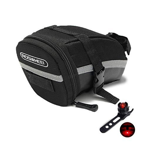 JATrade Hochwertige Fahrradtasche Satteltasche, Werkzeug, Flickzeug, Tragbar, Wasserfest, einfache Montage, Mountainbike Rennrad Trekkingbike E-Bike - Schwarz - inkl. Rücklicht