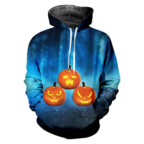 SWETHENG 3D Printed Lustige Flamme Kürbis Männer Hoodies Halloween Thema Hoodies Flame Pumpkin L