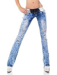 cab6d2729994a3 Simply Chic Damen Bootcut Schlag Jeans Risse Gürtel, acid washed T3080-1