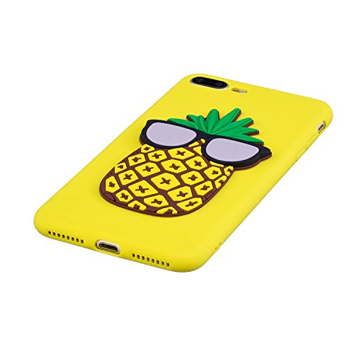 iPhone 8 Plus Case Silicone,iPhone 7 Plus Coque Paillette,iPhone 8 Plus Housse Noir Ultra Fine Silicone Souple Flexible TPU avec Sterne Bling Glitter Paillette Housse Etui de Protection Premium Anti C Ananas\\