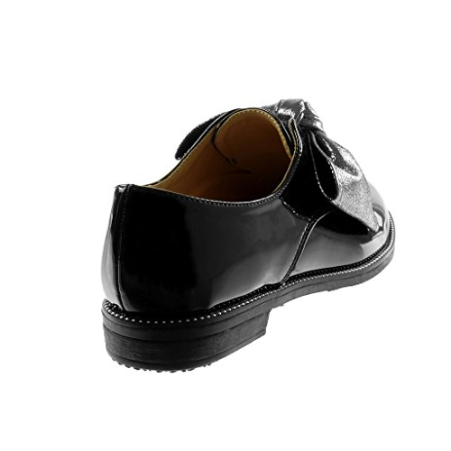 5 cm Mode Femme Bloc Chaussure Talon Brillant Verni Noir 2 Derbies Noeud Angkorly PpvqwHFxn