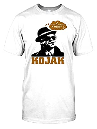 "Kojak - lollipop olalala Lollipop - 70s Cop Legend Mens T Shirt - white - Men 34-36"" - S"